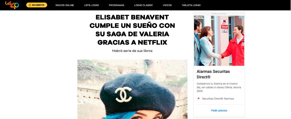 ELISABET BENAVENT CUMPLE UN SUEÑO CON SU SAGA DE VALERIA GRACIAS A NETFLIX
