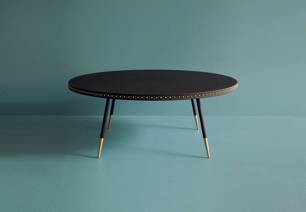 stud leather coffee table bethan gray design