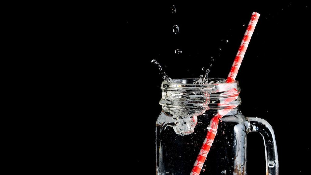 Water glass and straws