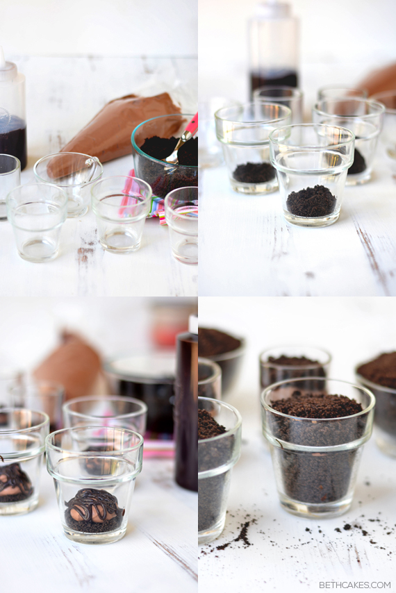 Chocolate Pudding Dirt Cups! Fun, cute, and super easy. bethcakes.com