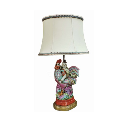 Boy Riding Rooster Lamp
