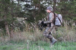 When walking to the stand, it's important to carry some of your layers so you don't work up a sweat. Instead of trying to fit everything in a zippered backpack, one with outer straps can help you carry some of the bulk. Allow plenty of time when walking to your stand so you don't work up a sweat. A slower-moving hunter is less likely to get overheated.