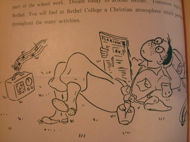Cartoon of a G.I. reading the Bethel student newspaper, The Clarion