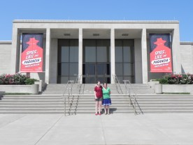 Lynae and Dana in front of the Truman Presidential Library and Museum