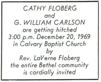 GW and Cathy's wedding announcement in the Clarion