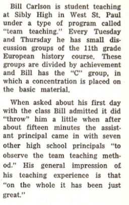 Clarion story on GW student teaching in December 1964