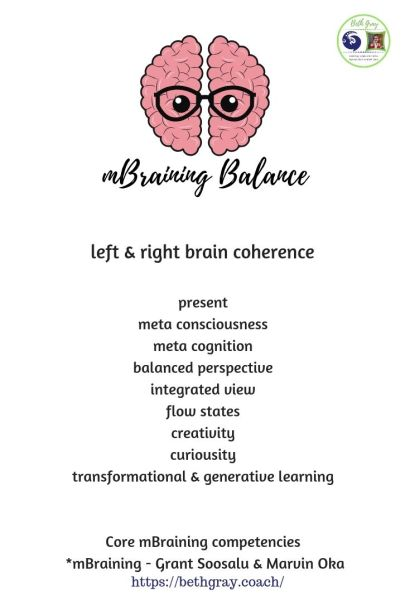 left and right brain, hemispheres, coherence, meta consciousness, meta cognition, balanced perspective, integrated view, flow states, creativity, curiousity, transformational and generative learning