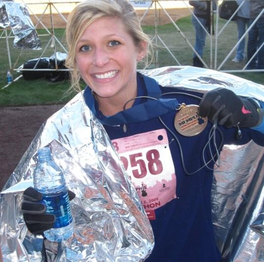 Elizabeth with her marathon medal