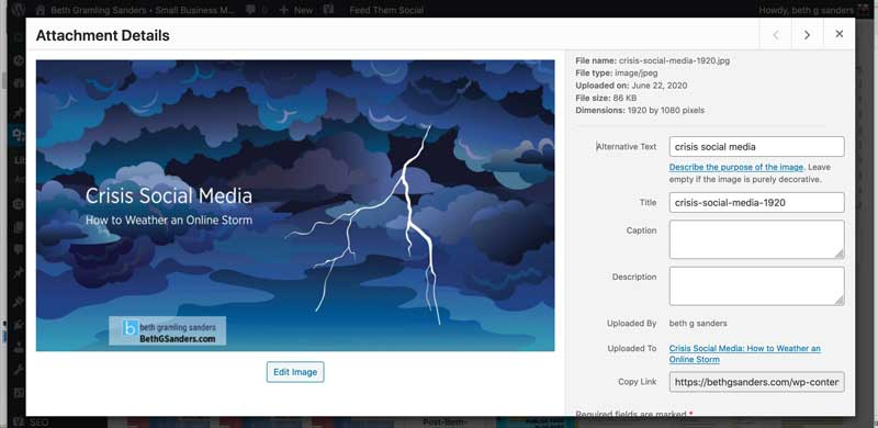 wordpress media library image edit