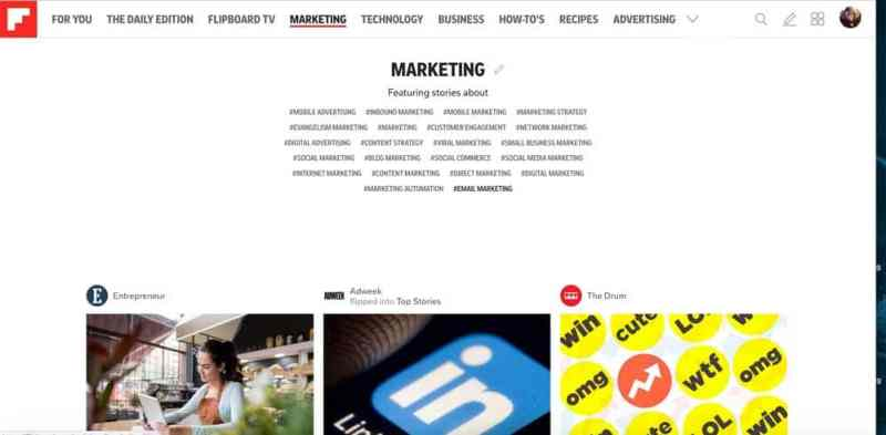 Flipboard topic page