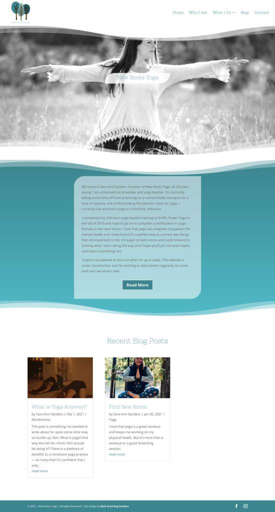 yoga website home page