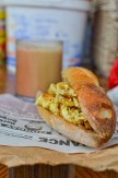 egg sandwich and a Gambian latte