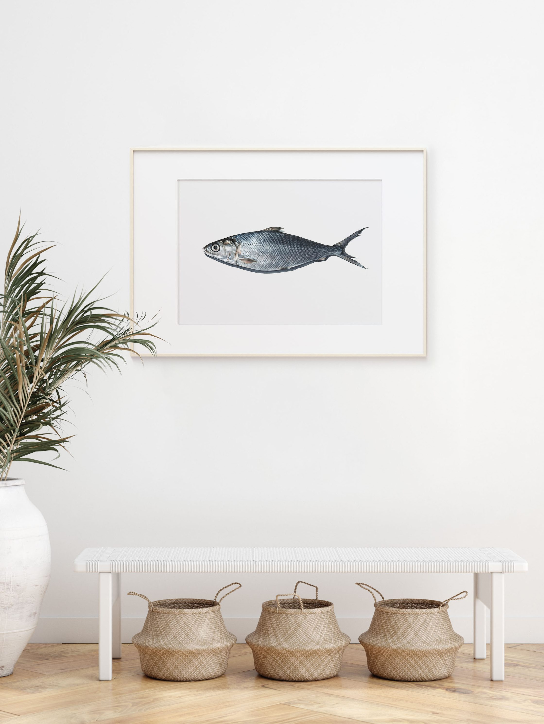 'Milkfish' artwork by Bethany Moffat hanging on a wall