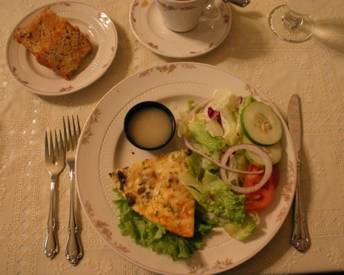 Abilene Kirby House salad and quiche Nov 2009