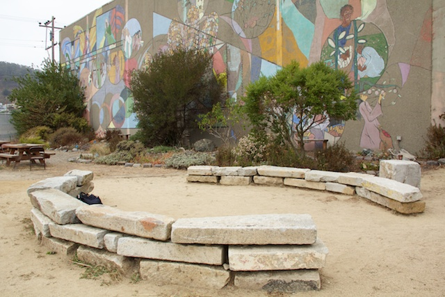 Candlestick Point State Recreation Area courtyard at HQ, August 2014