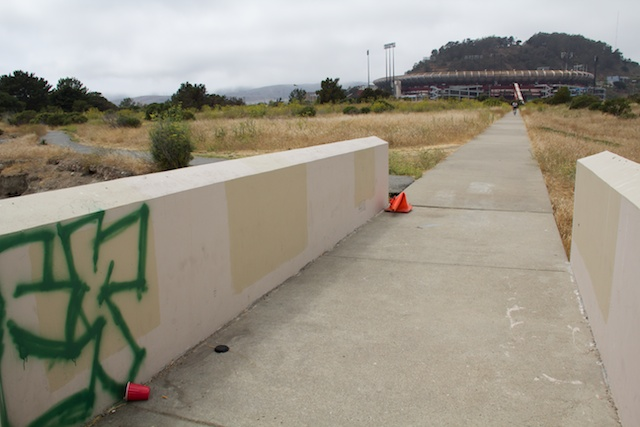 Candlestick Point State Recreation Area, view of Candlestick Stadium, August 2014