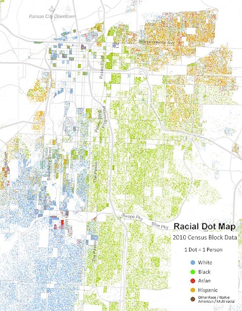 Racial dot map of Kansas City, 2010, prepared by the Weldon Cooper Center for Public Service, University of Virginia