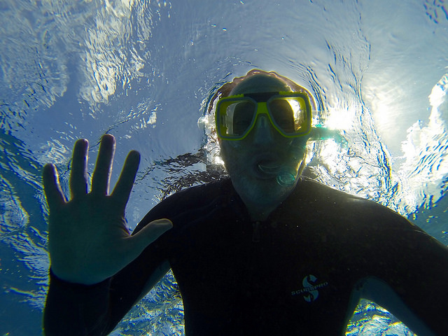 Todd's selfie while snorkeling GBR Sept 2015