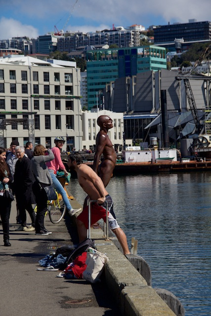 """Solace in the Wind, a famous statue by Max Patte on the harbor outside the Te Papa museum. And the one person who wasn't bundled up that day."