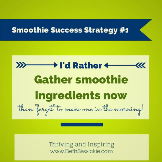 Smoothie Success Strategy #1 www.BethSawickie.com/smoothie-success-strategy-1