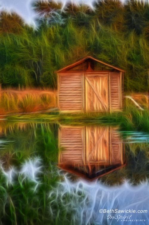 """by Beth Sawickie - www.BethSawickie.com/pump-house-reflection """"Pump House Reflection"""""""