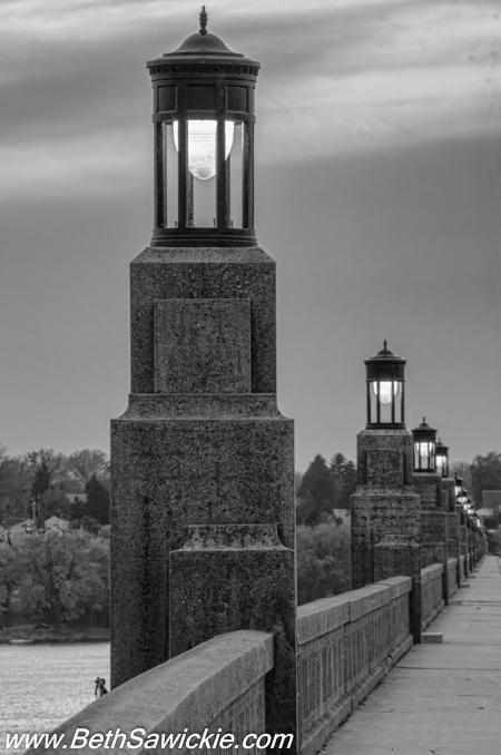Columbia PA Bridge Lights BW by Beth Sawickie fall-stroll-columbia-bridge-susquehanna