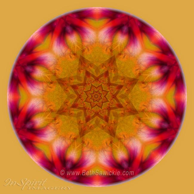 Orange Yellow Pink Mandala by Beth Sawickie http://www.BethSawickie.com