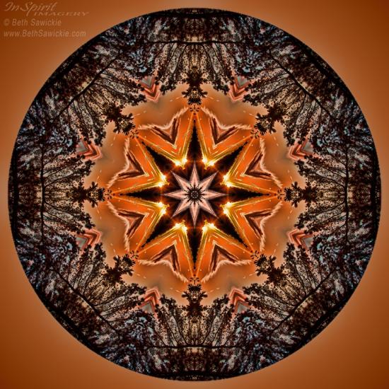 """Image by Beth Sawickie www.BethSawickie.com/star-eclipse-mandala """"Star Eclipse Mandala"""""""