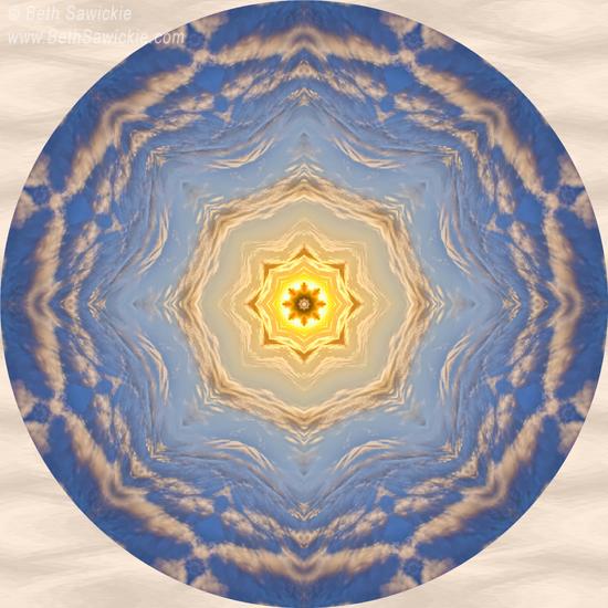 """Image by Beth Sawickie www.BethSawickie.com/sunlight-cloud-waves-mandala """"Sunlight Cloud Waves Mandala"""""""