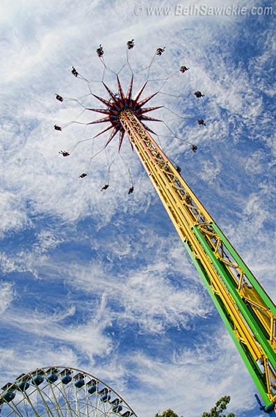 Swings, Wheel & Sky photo by Beth Sawickie http://www.BethSawickie.com