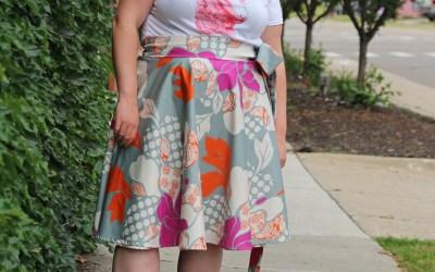 XLarge 3/4 Circle Wrap Skirt – Geometric Floral