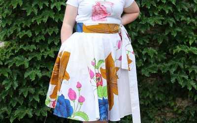 Large Full Circle Wrap Skirt – White Ankara