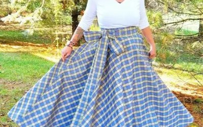 3/4 Circle Maxi Wrap Skirt – Blue Plaid