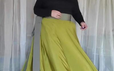 Full Circle Maxi Wrap Skirt – Green/Grey