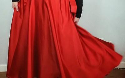3/4 Circle Tea Length Wrap Skirt – Red Satin