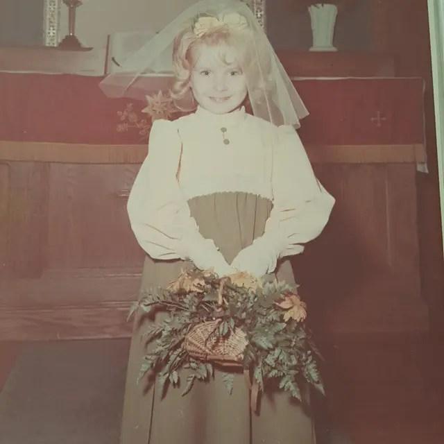 Flower girl, wedding dress, 1970s wedding