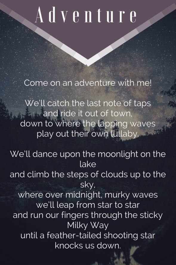 Adventure by Beth Wangler | Come on an adventure with me!  We'll catch the last note of taps and ride it out of town...