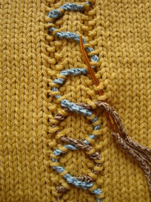 Photo of faux couching technique