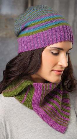 Stripy Cowl and Slouchy Cap