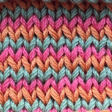 1-row 3-color St st stripes
