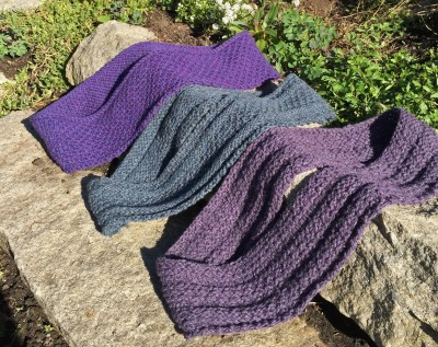 Trio of cowls in sand and dot stitch
