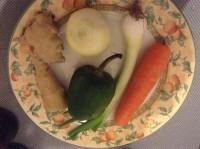Onion, carrot, ginger, pepper, spring onion
