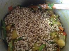 Add barley and mix