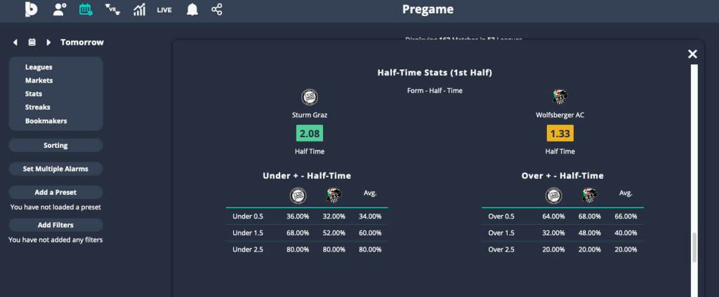 analyze football games for free 5 halftime stats