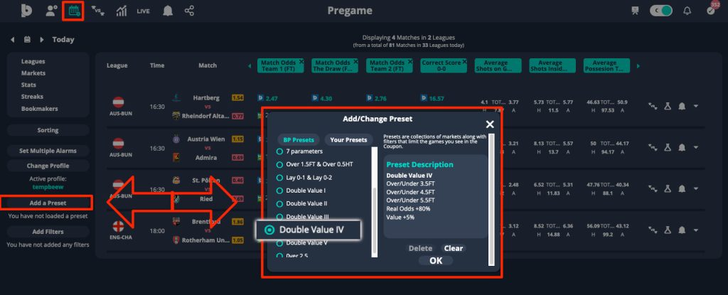 value combination betting strategy preset double value 2
