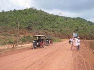 Our little tour group and tuk tuks.