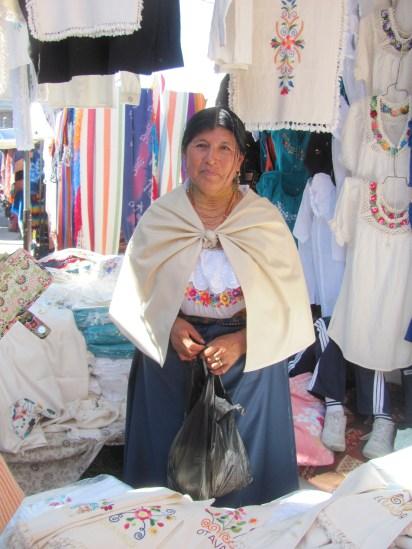 Indigenous woman at Otavalo market.