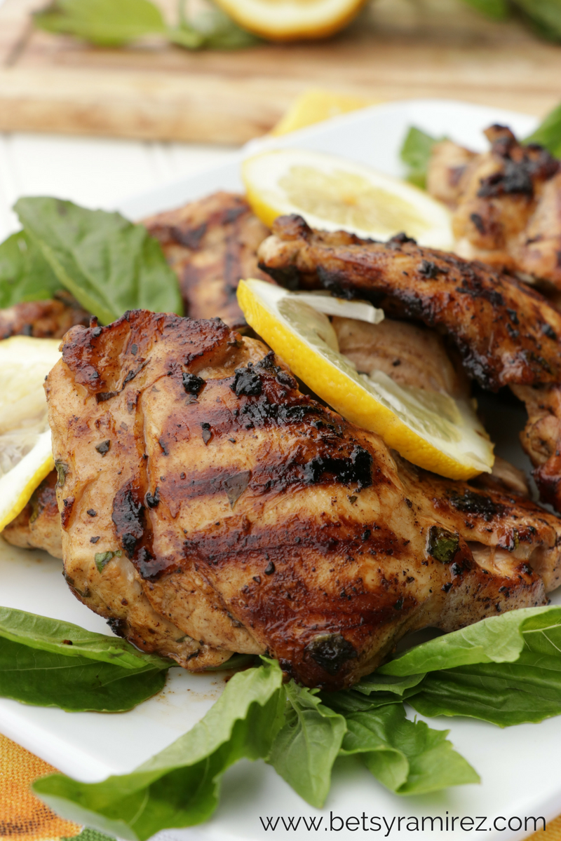 Lemon Basil Grilled Chicken Thighs