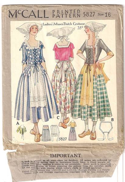1920 S Rare Mccall Dutch Costume Pattern Vintage Sewing