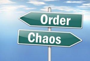 """Signpost """"Order vs. Chaos"""""""